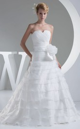 Strapless Criss-Cross Notched A-Line Dress With Tiers and Corset Back