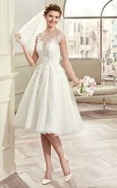 Cap-sleeve Knee-length Wedding Gown with Illusive Design and Lace Bodice