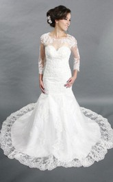 Long Sleeve Mermaid Lace Gown With Illusion Back and Jewel Neck