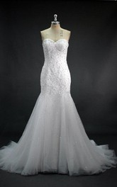 Sweetheart Mermaid Lace and Tulle Dress With Beadings and Sequins