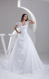 Exquisite Ruched A-Line Gown With Beading and Jacket