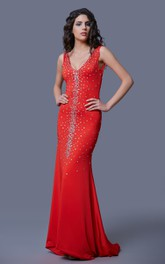 Glamorous Crystal-beaded Ruched Plunge Jersey Prom Gown