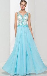 Sheer Back Beading Sequins Prom Dress