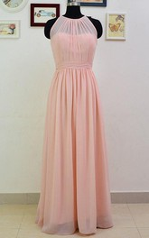 Long Chiffon Bridesmaid Long Pearl Pink Convertible Floor Length Prom Bridesmaid Dress