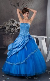 Strapless Quinceanera Pick-Up Lace and Dress With Beading