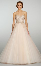 Fabulous Sweetheart Tulle Ball Gown With Lace Embroidery