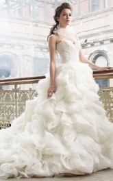 Luxurious Lace Bodice Organza Ruffle Dress With Sweetheart Neckline