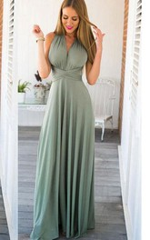 V Neck A-line Pleated Chiffon Floor Length Dress Criss Cross Back