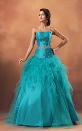 Strapless A-Line Ball Gown With Ruffles and Beading