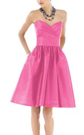 Vintage A-line Pleated Short Satin Dress