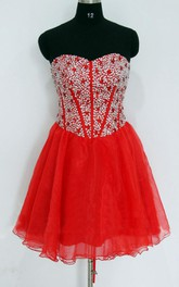 Short Sweetheart Chiffon&Satin Dress With Sequins