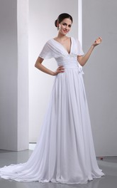 Fantastic V-Neck Capped A-Line Pleated Chiffon