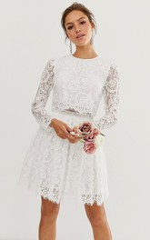 Casual Lace Two Piece Long-sleeve Short Wedding Dress