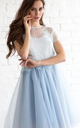 Jewel Neck Short Sleeve A-line Pleated Tulle Knee Length Dress Lace Top