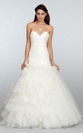 Captivating Asymmetrical Ruched Bodice Tulle Dress With Organza Petals