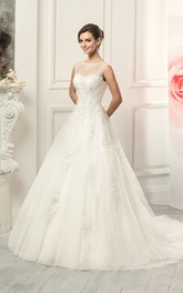 Ball Gown Floor-Length Jewel Sleeveless Illusion Lace Tulle Dress With Appliques