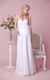 Sweetheart Empire Lace Floor Length Dress With Satin Bow