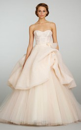 Fantastic Corseted Bodice Tulle Ball Gown With Bubble Peplum