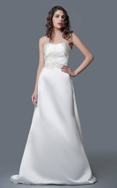 Modern Strapless Backless A-line Long Satin Dress