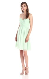 Sweetheart Mini Chiffon Dress with Ruching