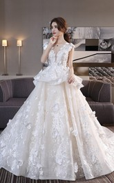 Princess Cap Sleeve 3D Floral Appliqued Lace Wedding Ball Gown With Peplum Skirt And Lace-up