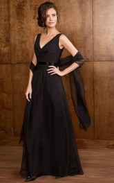 V-Neck Sleeveless A-Line Gown With Matching Shawl