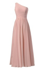 Simplistic Long One-shoulder Pleated Chiffon A-line Dress