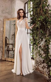 Ethereal Chiffon and Lace V-neck Floor Length Wedding Dress with Keyhole Back