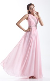 One-Shoulder Pleated Chiffon Gown With Crystal Detailing