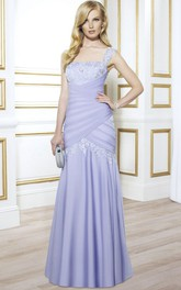 Sleeveless Square Neck Appliqued Satin Formal Dress With Low-V Back