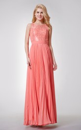 Sleeveless A-line Long Pleated Chiffon Dress With Key-hole