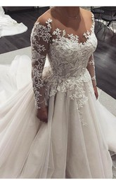 Elegant Long Sleeve Floor-Length Lace-up Long Sleeve Wedding Dress With Beading