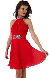 Sleeveless Short Mini High Neck Pleated Chiffon Prom Dress With Beading