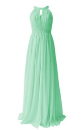 Jewel Notched Pleated Chiffon A-line Gown With Beading
