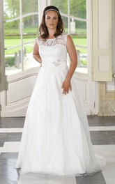 A-Line Floor-Length Bateau Neck Sleeveless Satin Tulle Appliques Dress