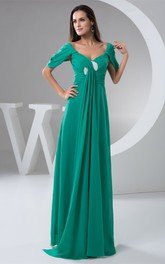 Mini-Sleeve Criss-Cross Chiffon Draping and Dress With Pleats