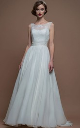 A-Line Maxi Appliqued Bateau Sleeveless Wedding Dress With Sweep Train And Low-V Back