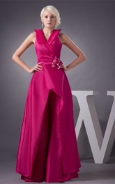 Sleeveless Satin Maxi Flower and Gown With Ruching