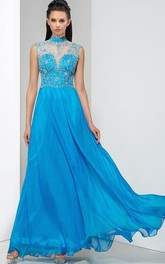 A-Line High Neck Crystal Appliques Hollow Prom Dress