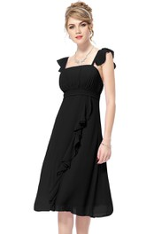 Strapless A-line Ruffle Dress With Detachable Sleeves