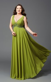 A-line Floor-length V-neck Sleeveless Chiffon Waist Jewellery Pleats Low-V Back Dress