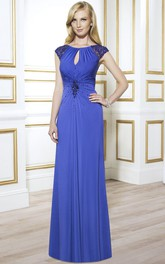 Sheath Cap-Sleeve Long Scoop Beaded Formal Dress With Keyhole Back And Ruching