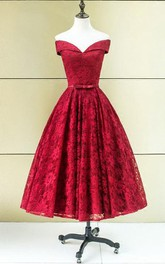 A-Line Off-the-Shoulder Bowknot Lace Sashes Tea-Length Prom Dress