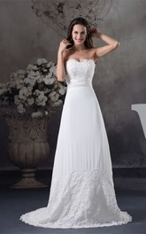 Sweetheart Floor-Length A-Line Ruched Waist and Dress With Appliques