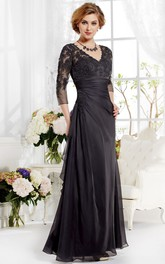 3-4 Sleeved V-Neck A-Line Gown With Appliques And Pleats