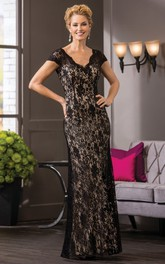 Cap-Sleeved V-Neck Lace Long Mother Of The Bride Dress With V-Back