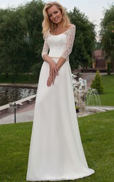 Appliqued 3-4 Sleeve Scoop Neck Chiffon Wedding Dress