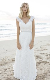 A-line Elegant Bohemian Lace Cap Sleeve Bridal Gown With V-neck And Keyhole
