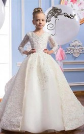 Satin V-neck Beading Ball Gown Flower Girl Dress with Tiers