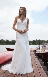 Adorable Sleeveless V Neck Court Train Bridal Gown